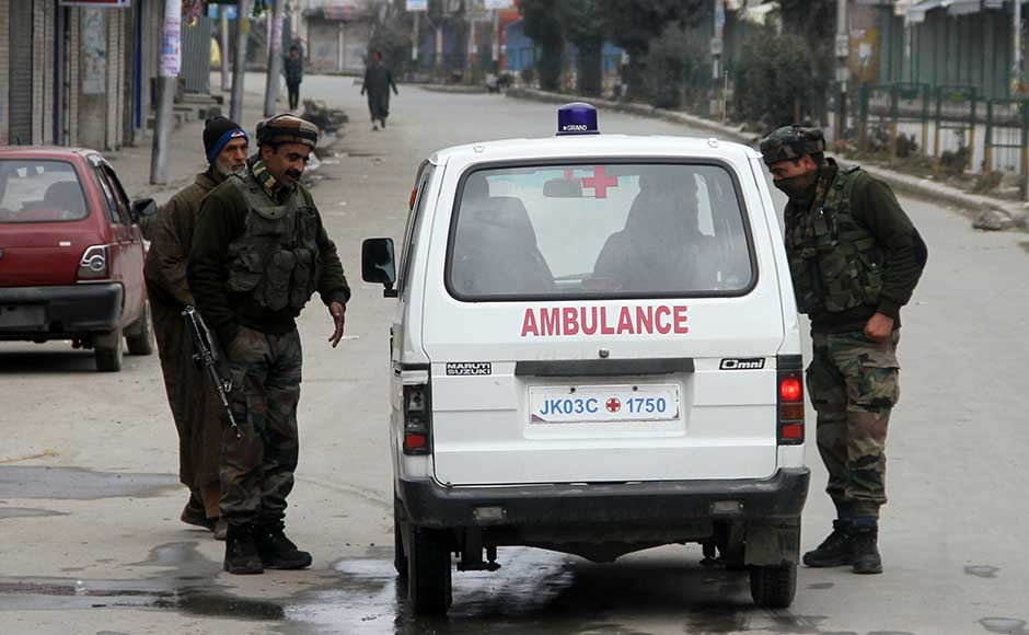 These restrictions were placed as a precautionary measure in view of a call for protests by separatist group Joint Resistance Leadership (JRL). JRL prominently includes separatist leaders Syed Ali Geelani, Mirwaiz Umar Farooq and Muhammad Yasin Malik. Security forces checking an ambulance in Lal Chowk, the entry point to Anantnag. Firstpost/Sameer Mushtaq