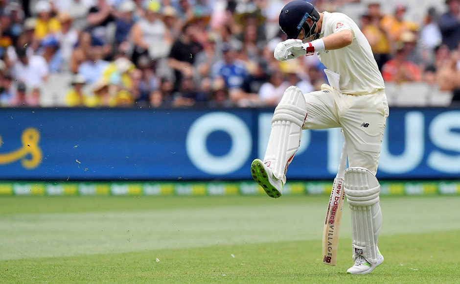 England's Joe Root kicks at the ground after he was caught out for 61 runs against Australia. Root's failure to convert fifties into centuries continued. AP