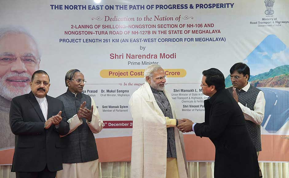He dedicated to the nation a 271-km two-lane national highway connecting Tura in western Meghalaya to the state capital Shillong. The prime minister had also said the Act East Policy of his government would soon make Mizoram the 'gateway to the Southeast Asian countries.' PTI