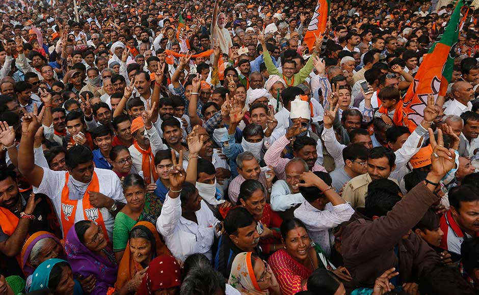 At a rally in Rajkot, the prime minister continued his attack against the Opposition.