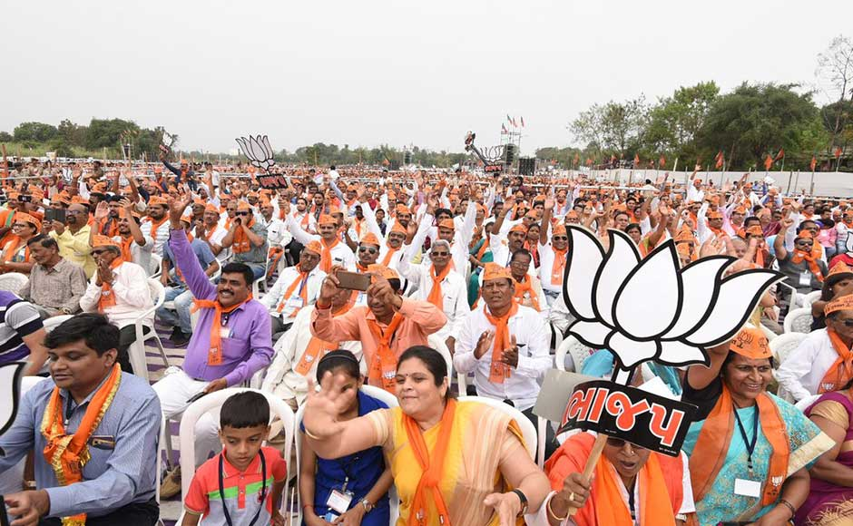 Polling for the two-phase elections in the state, which has a total of 182 seats, will take place on 9 and 14 December. The crowd cheers for Modi at a rally in Dharampur. Twitter @BJP4India