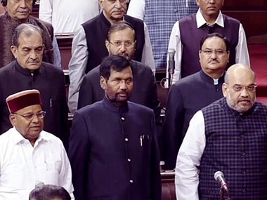 BJP President Amit Shah and other members in the Rajya Sabha on the first day of the winter session. PTI