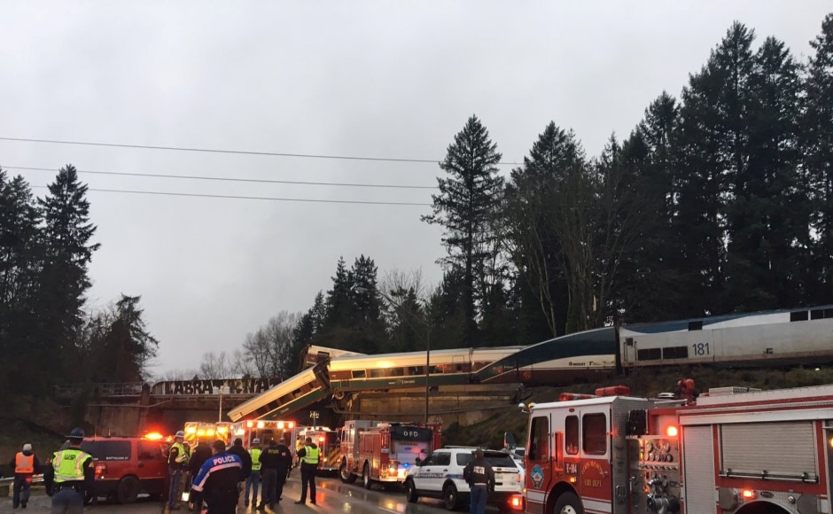 The train was making the inaugural run on the new route as part of a $180.7 million project designed to speed up service by removing passenger trains from a route along Puget Sound that's bogged down by curves, single-track tunnels and freight traffic. Reuters