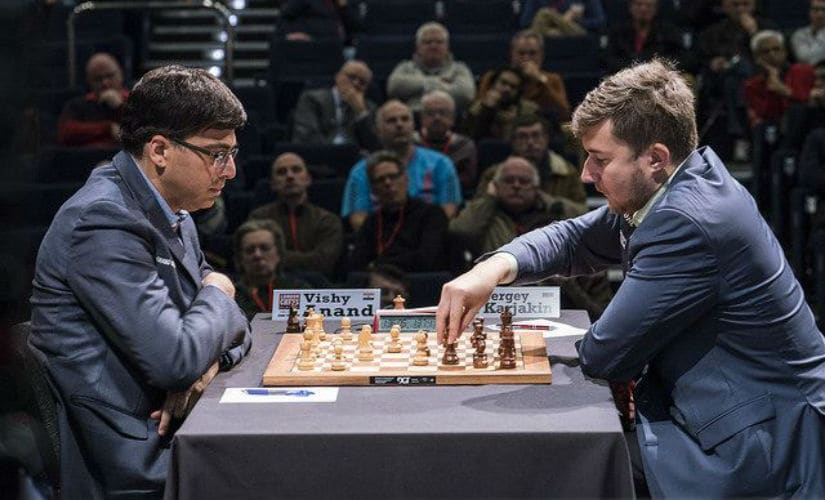 Viswanathan Anand in action against Sergey Karjakin. Lennart Ootes