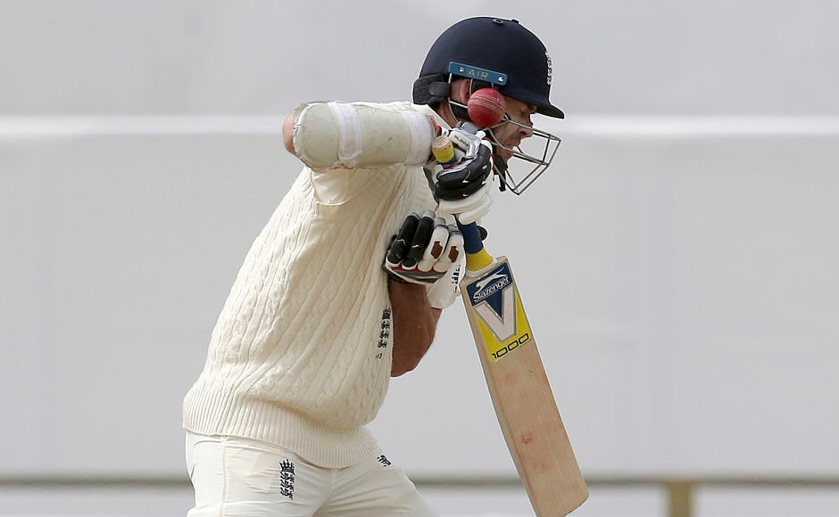England's number 11 James Anderson was hit on the helmet by Pat Cummins of his first ball in the second innings. AP