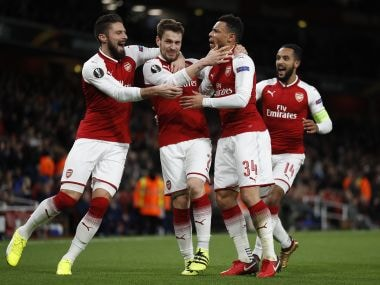 File image of the Arsenal players celebrating a goal.