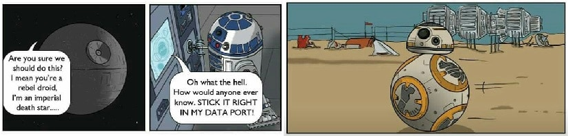 A parody comic on BB-8's origin. Reddit/TheSkeletonBlog