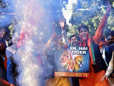 BJP workers and supporters celebrate the party's success. PTI