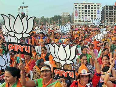 A file image of BJP supporters in Gujarat. PTI