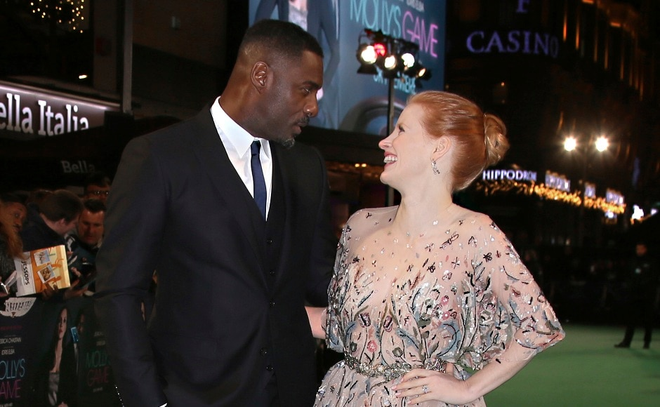 Actors Idris Elba (left), and Jessica Chastain pose for photographers upon arrival at the Britain premiere of Molly's Game. Photo by AP/ Joel C Ryan