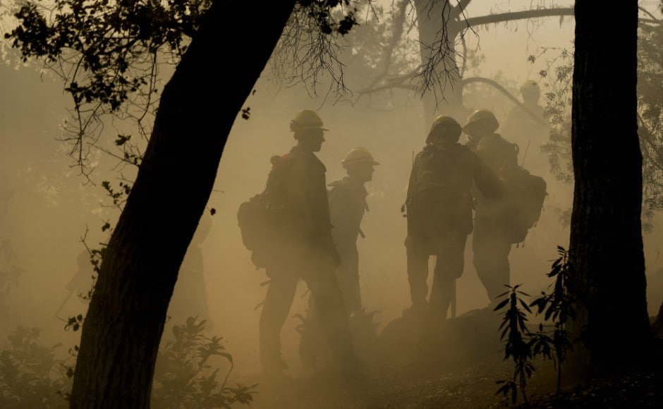 Nearly 8,500 personnel using nearly 1,000 engines and 32 helicopters were battling the blaze, which was 40 percent contained on Saturday evening. It has become the seventh-most destructive in state history, officials said. AP