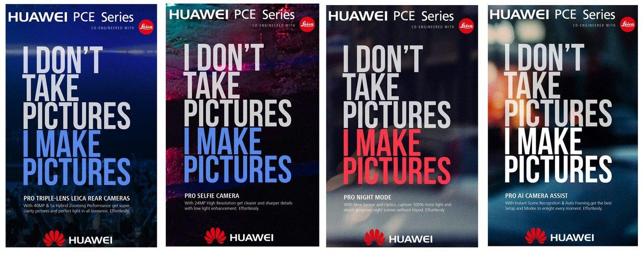Huawei 'PCE' series ads. Evan Blass Twitter