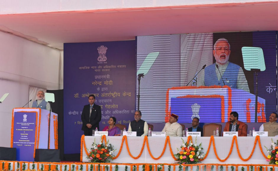 Modialso unveiled two statues of the Dalit icon at the centre in Janpath. Hesaid that the centre will prove to be an inspiration for the promotion of the thoughts and teachings of Ambedkar. The centre, he also added, was a fusion of Buddhist and modern architecture. Twitter/@PIB_India