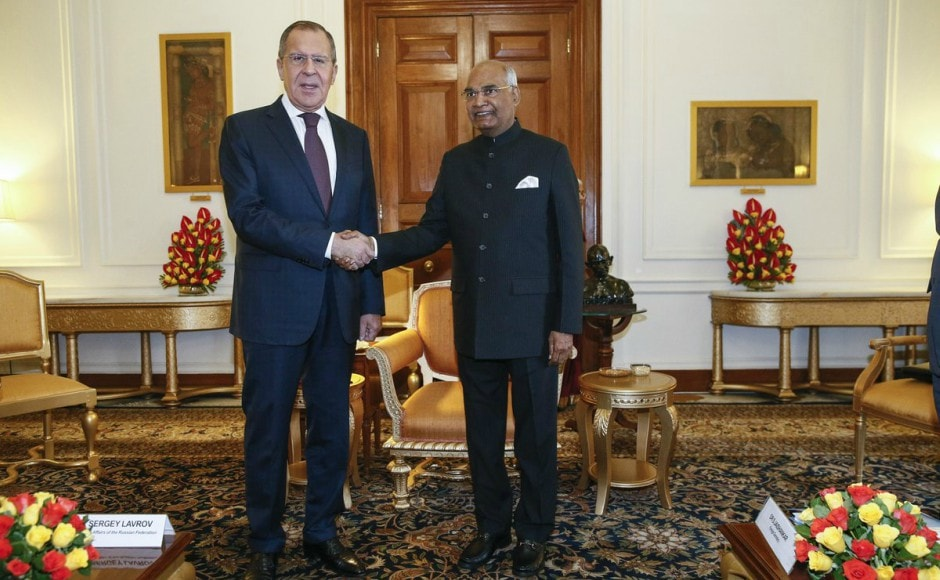 President Ram Nath Kovind called on Russian foreign minister Sergey Lavrov at the Rashtrapati Bhavan in New Delhi on Monday. Image courtesy: Twitter/ @mfa_russia