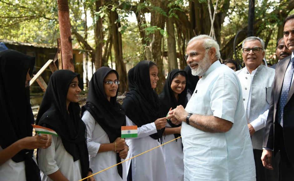 The prime minister was greeted by school students in Kavaratti. The Centre has till now dispatched Rs 153 crore for Kerala and Rs 561 crore for Tamil Nadu to supplement the efforts of these states in dealing with the situation. Twitter @PMOIndia