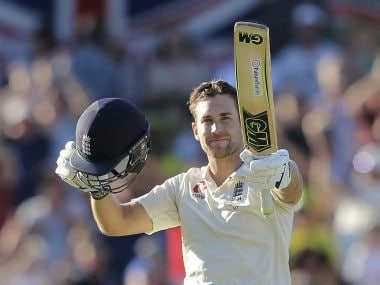 England's Dawid Malan celebrates scoring 100 runs against Australia during their Ashes Test at Perth. AP