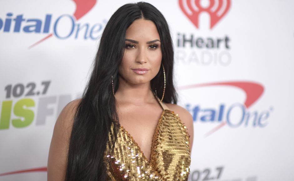 Demi Lovato arrives at Jingle Ball at The Forum on Friday, Dec. 1, 2017, in Inglewood, Calif. (Photo by Richard Shotwell/Invision/AP)