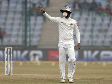 Sri Lanka's captain Dinesh Chandimal, wearing anti-pollution mask, during the third Test against India. AP