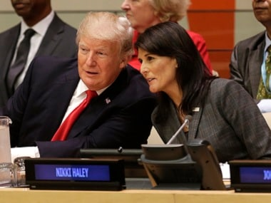 File image of United States president Donald Trump with US Ambassador to the United Nations Nikki Haley. AP