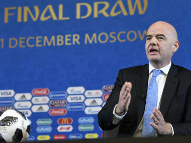 FIFA president Gianni Infantino speaks during a press conference prior to the final draw for the 2018 FIFA World Cup in Moscow. AFP