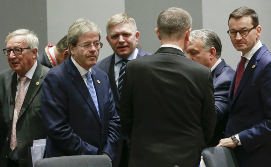"""European Union nations bickered openly over migration policy Thursday in an east-west divide centered on several nations that refuse to accept refugee quotas. The Czech Republic, Hungary, Poland and Slovakia announced that they planned to spend around 35 million euros ($41 million) to beef up EU borders after the four countries — known as the """"Visegrad Four"""" — were criticized for failing to show solidarity with the rest of the bloc. AP"""