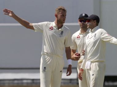 England captain Joe Root, right, talks with his bowlers Stuart Broad, left, and James Anderson, centre, during the third day of the WACA Test. AP