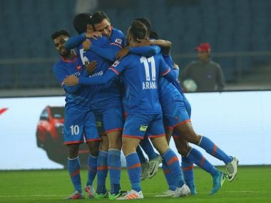 File image of FC Goa players celebrating a goal. ISL