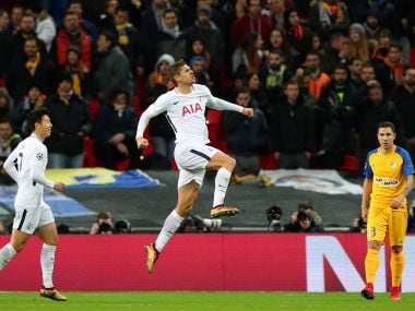 Tottenham's Fernando Llorente celebrates scoring their first goal against APOEL. Reuters