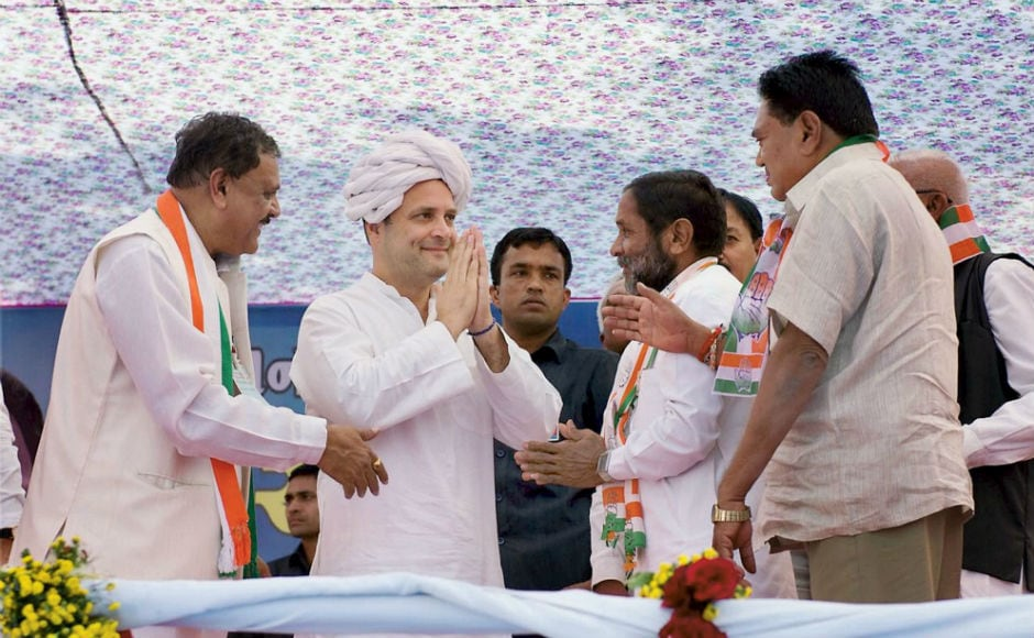 Congress vice-president Rahul Gandhi on Thursday continued with the final leg of his two-day tour to poll-bound Gujarat where he addressed public rallies in Lathi, Amerli, Bhotad and Bhavnagar. PTI