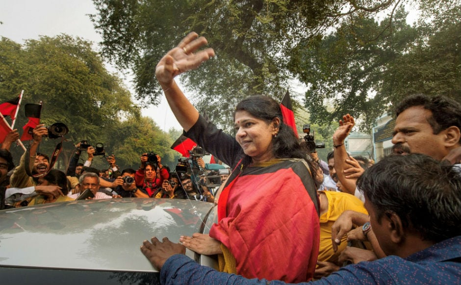 DMK supporters were seen bursting fire crackers outside the court complex and showered Raja and Kanimozhi with flowers as soon as they stepped out of court. PTI
