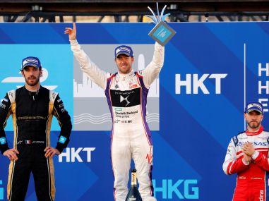 DS Virgin Racing team's driver Sam Bird (C) celebrates after winning the race. Reuters