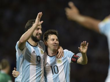 File image of Argentina's Gonzalo Higuain and Lionel Messi. AFP