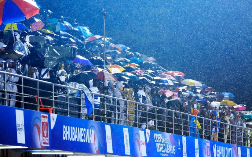 Around 3,000 fans braved the heavy rains to watch the semi-final. at The Kalinga. Image courtesy: Sundeep Misra