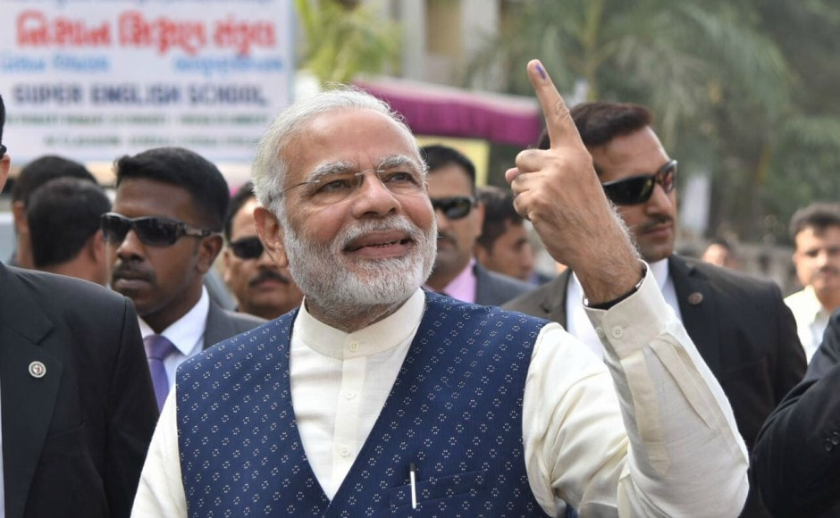 Prime Minister Narendra Modi on Thursday cast his vote in the second phase of the Gujarat Assembly elections in Ranip in Ahmedabad. Pallavi Rebbapragada
