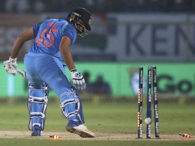 India's Rohit Sharma is bowled out by Sri Lanka's Akila Dananjaya during their third and final ODI. AP