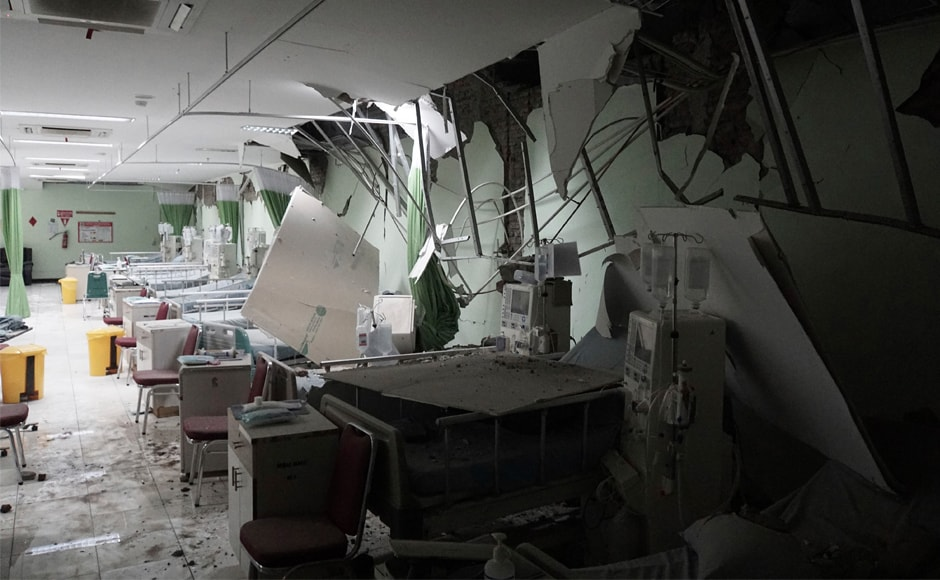 Damaged equipment is seen at a hospital following the earthquake in Banyumas, Central Java. The tremor was felt across the island including in the capital Jakarta, some 300 kilometres from the epicentre. AP