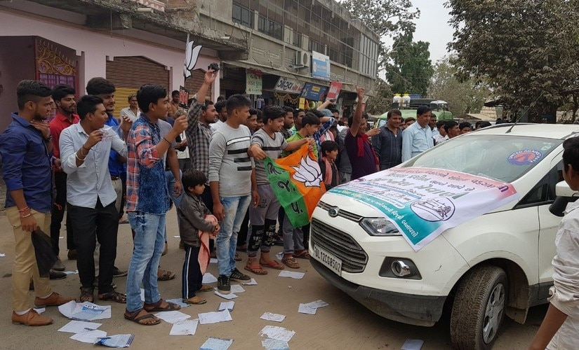 BJP supporters protest at Jignesh Mewani's rally. Firstpost/ Amitesh