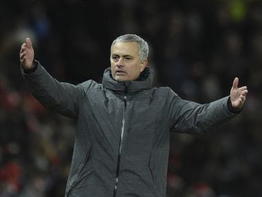 Manchester United's manager Jose Mourinho gestures during the derby. AFP