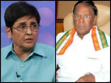 File image of Puducherry L-G Kiran Bedi (L) and Chief Minister V Narayanaswamy. News18