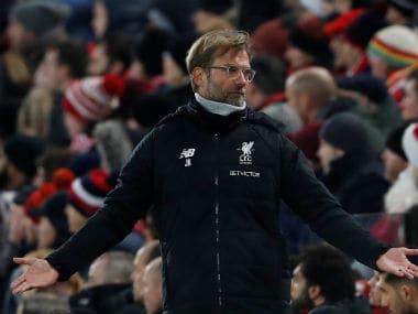 Liverpool boss Jurgen Klopp reacts during his side's clash against Everton. Reuters