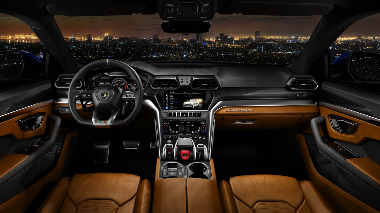 Multifunction switches are intuitively located on the steering wheel to control the infotainment system referred to as the Lamborghini Infotainment System. Image: Lamborghini