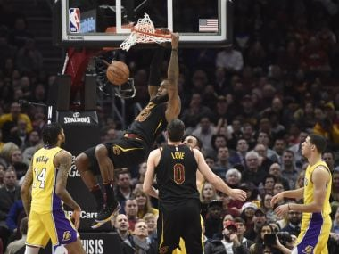Cleveland Cavaliers forward LeBron James dunks against the Los Angeles Lakers. Reuters