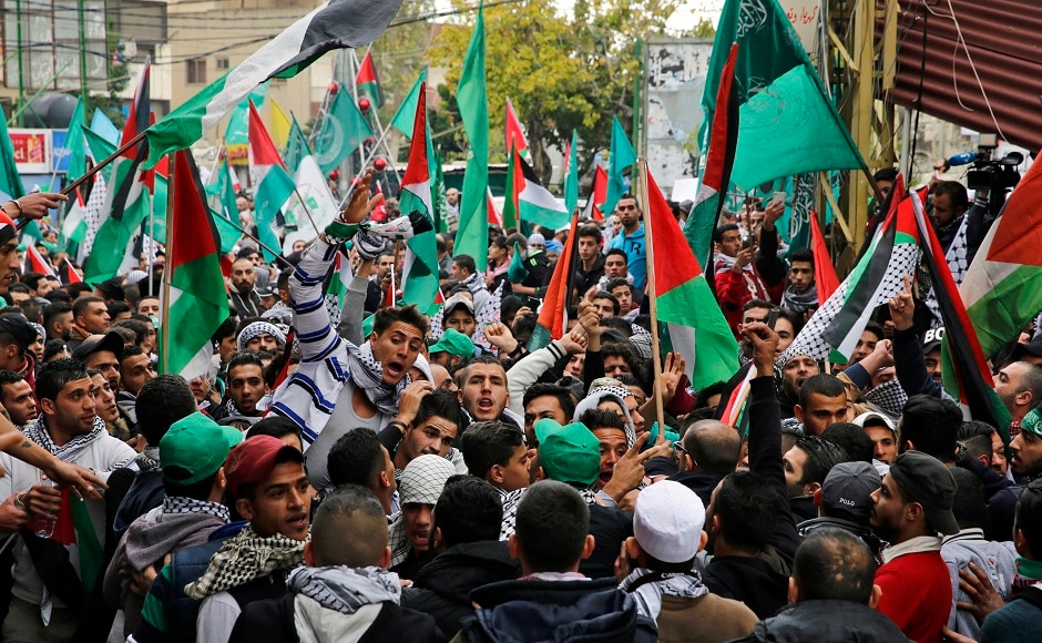 Hundreds of protesters, some of them waving Palestinian flags, held demonstrations near the US embassy in Lebanon on Sunday. They were protesting against US president Donald Trump's decision to recognise Jerusalem as the capital of Israel. AP