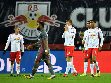 RB Leipzig players dejected after losing to Hertha Berlin. Reuters