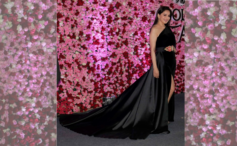 Madhuri Dixit was bestowed with the Timeless Beauty award and she showed us exactly why she received the honour in her sultry black gown. Image by Firstpost/Sachin Gokhale.