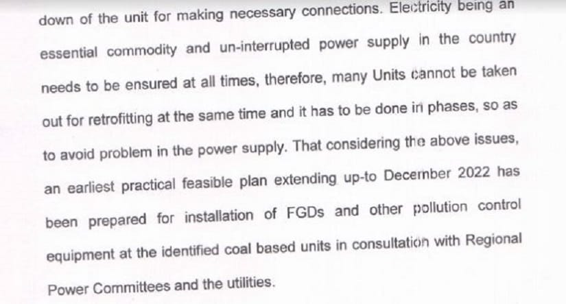 The MOEFCC affidavit that argues that all units could not be taken offline to retrofit equipment as power supply from thermal plants could not be interrupted.