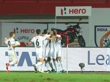 Adil Ahmed Khan of FC Pune City celebrates the goal for   during the match with Jamshedpur FC. Image courtesy: ISL/Sportzpics