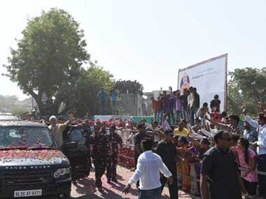 Vadnagar residents queued up along the route to greet Narendra Modi, who visited his birthplace in October, for the first time after becoming prime minister. Twitter @PMOIndia