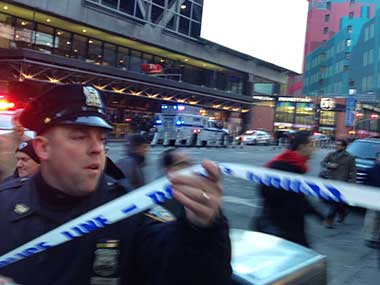 Police respond to a report of an explosion near Times Square on Monday. AP