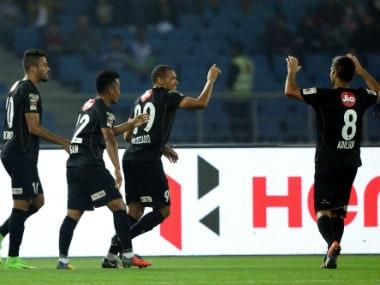 Danilo LOPES CEZARIO of Northeast United FC celebrates the goal with team players. ISL